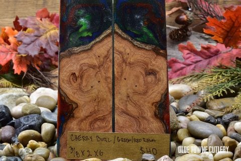 Carper Innovations Cherry Burl/Red & Green Resin