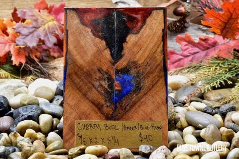 Carper Innovations Cherry Burl/Amber/Blue Resin