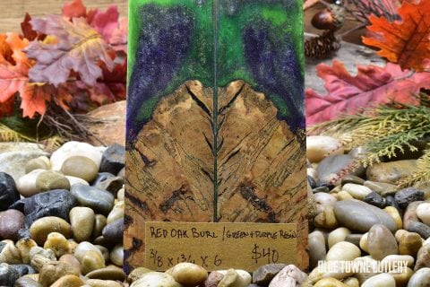 Carper Innovations Red Oak Burl/Purple & Green Resin