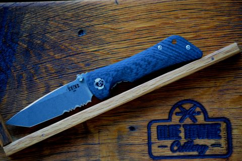 Southern Grind Spider Monkey - Tumbled Satin, Carbon Fiber, Serrated, Tanto