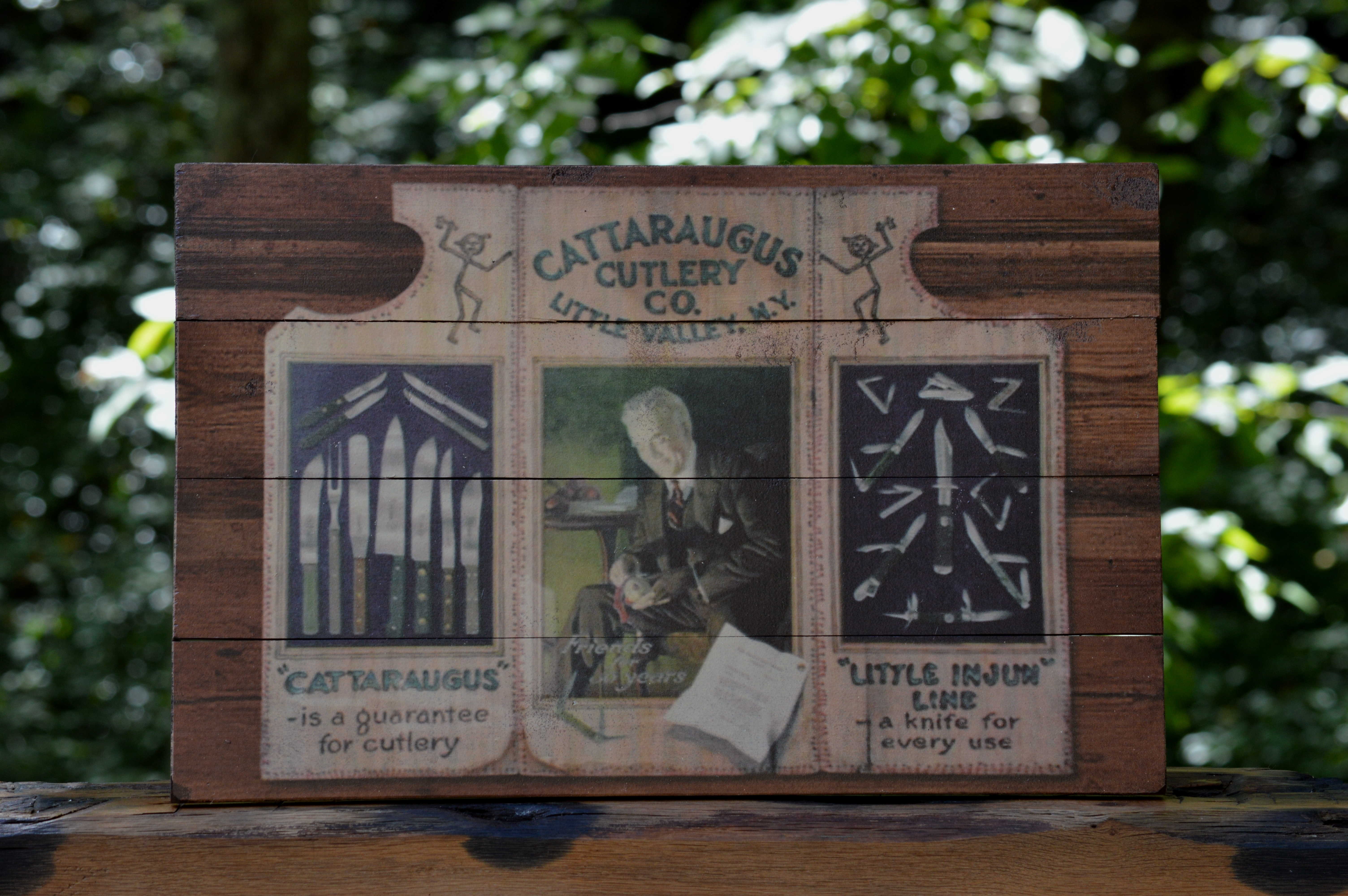 Cattaraugus Cutlery Vintage Advertising Wood Sign