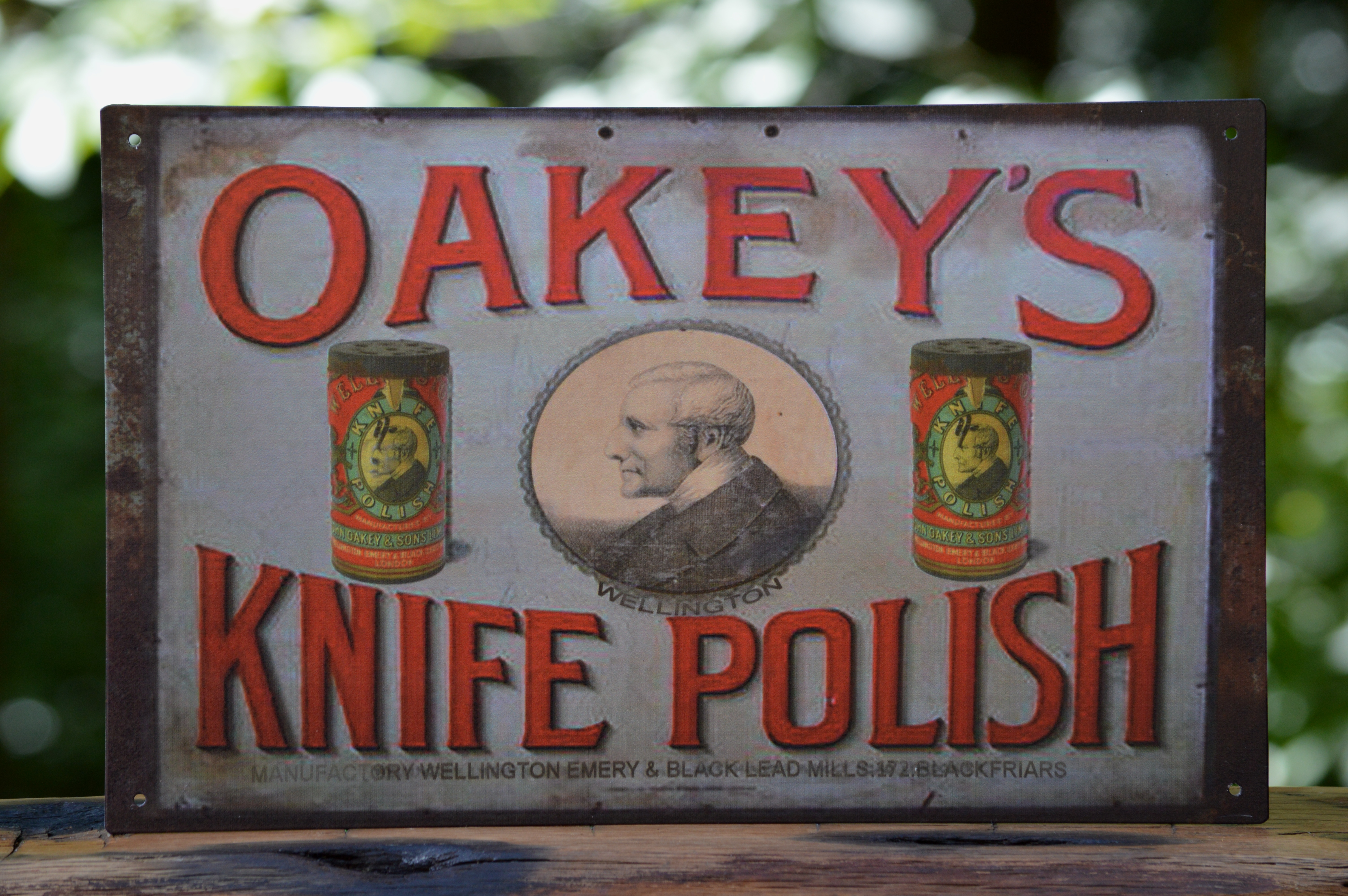 Oakey's Knife Polish Vintage Tin Sign 10 x 16