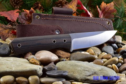 Cumming Bladeworks Huntmaster - Black/Brown Canvas Micarta