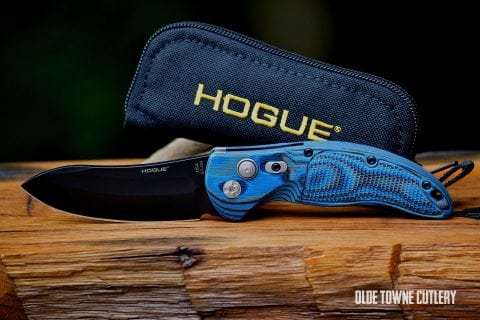 Hogue Knives EX-A04 - Black Cerakote, G10 G-Mascus Blue Lava ~ 34433