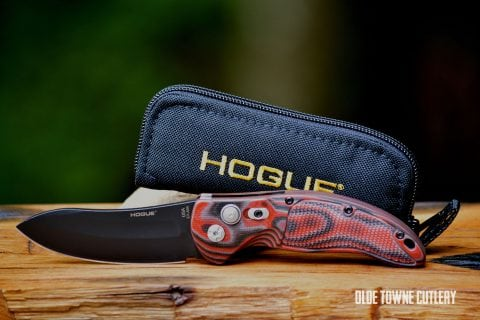 Hogue Knives EX-A04 - Black Cerakote Finish, G10 G-Mascus Red Lava ~ 34432