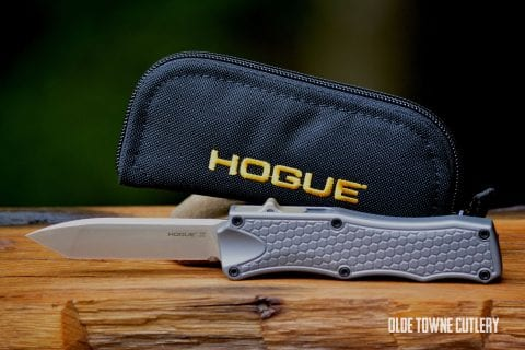 Hogue Knives OTF - Tumbled Finish, Matte Grey Aluminum, Tanto ~ 34002