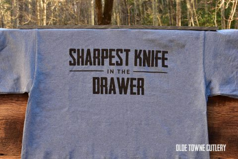 Olde Towne Cutlery Sharpest Knife in the Drawer T-Shirt Blue/2X