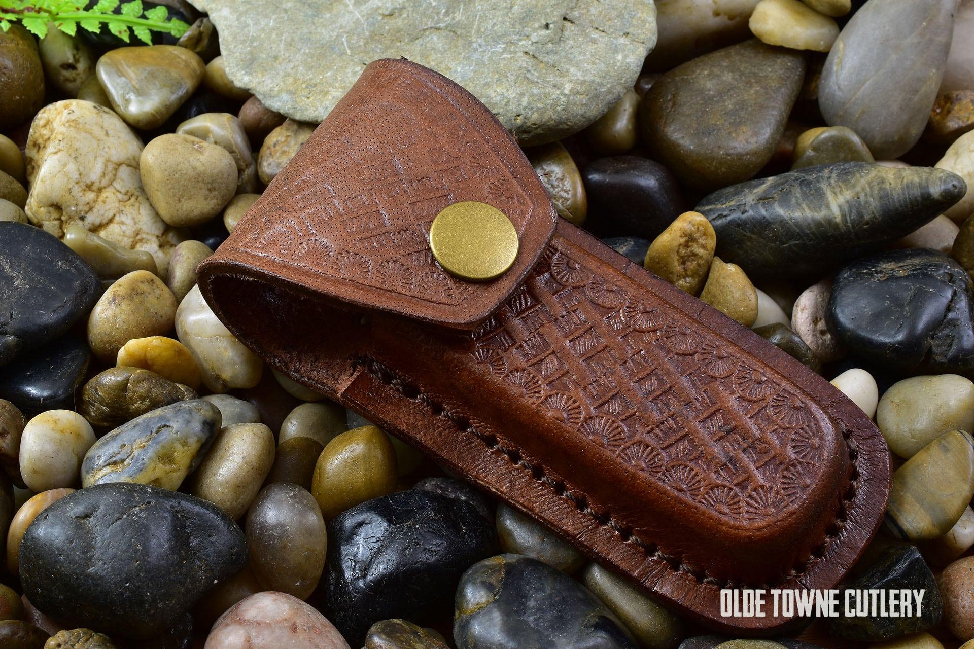 Medium Folding Knife SH1092 Leather Belt Sheath