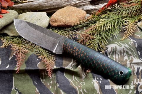 Alfa Knife AK-1 Green Dragon Skin Pinecone