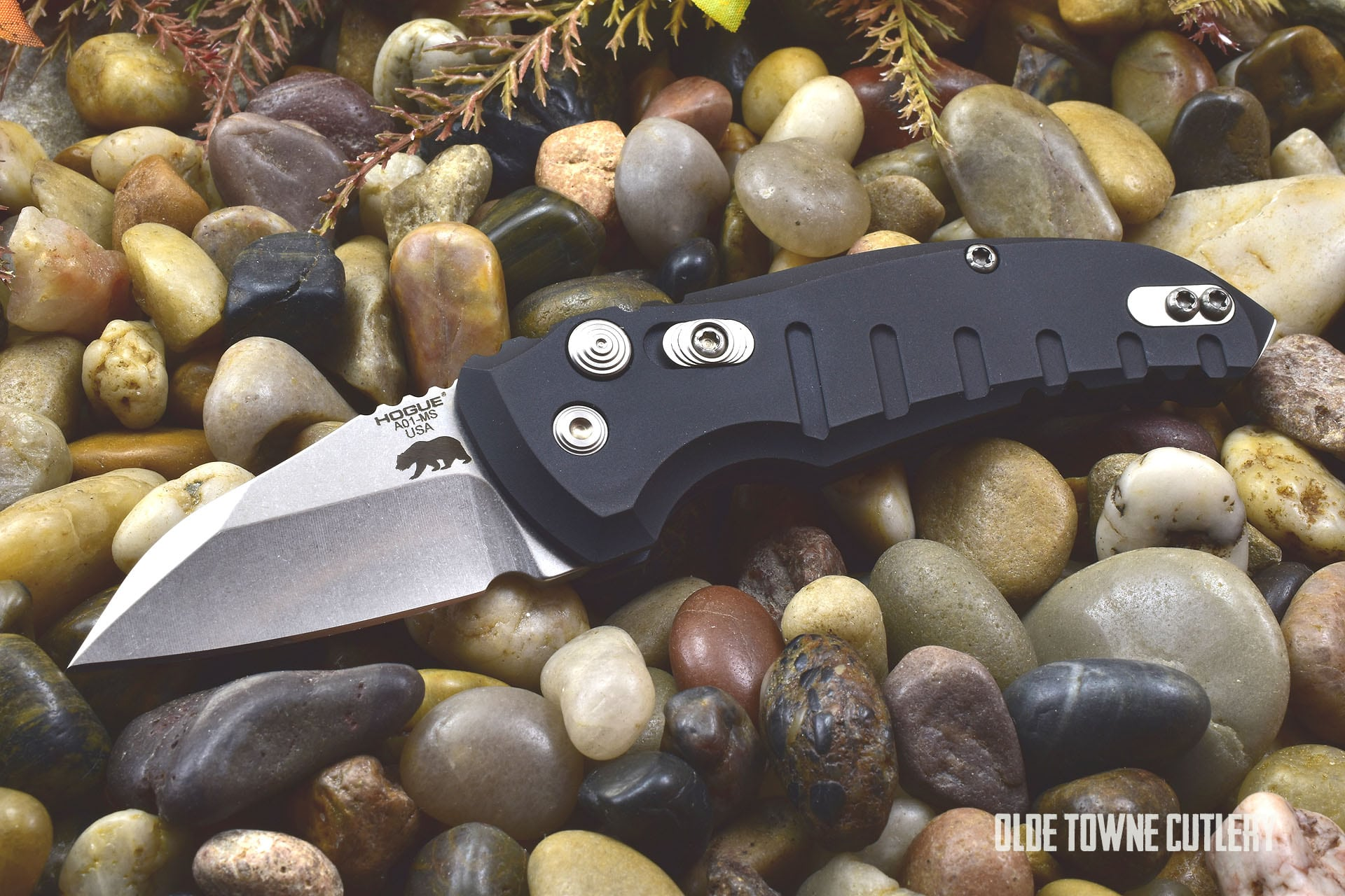 Hogue Knives 24140 A01 Microswitch Matte Black *