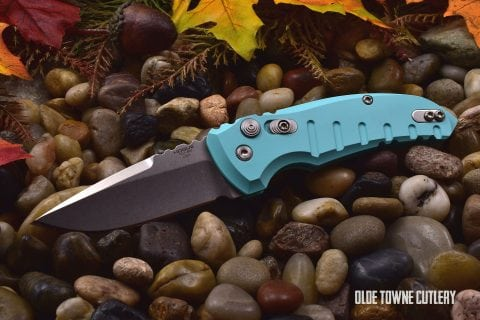 Hogue Knives 24113 A01 Microswitch Matte Aqua Blue