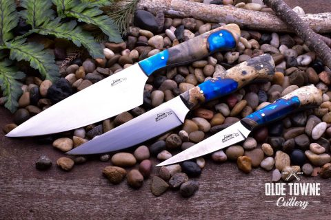 Jaimoe Knives 3 pc Buckeye Burl Blue Kitchen Set (C)