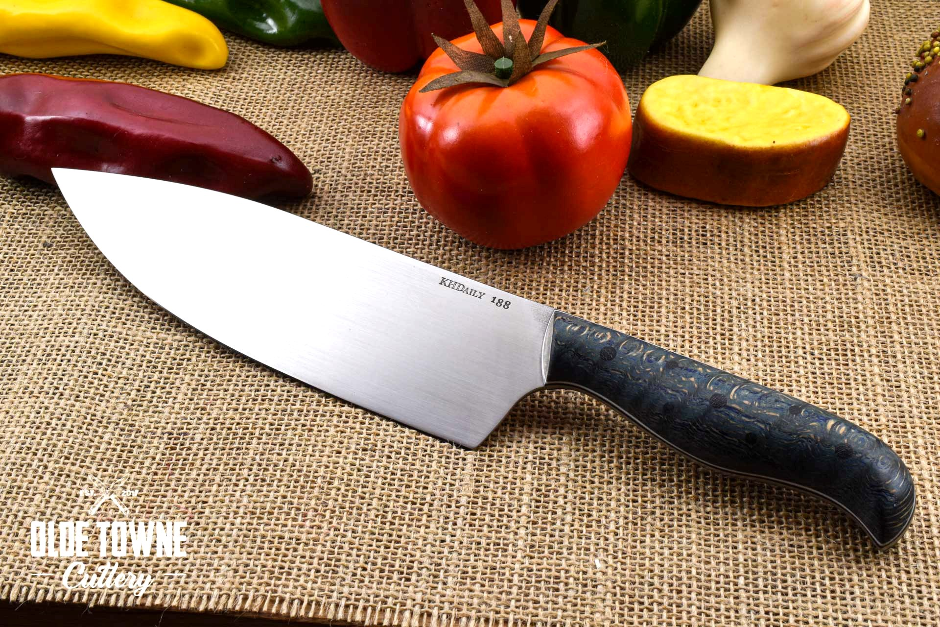 "KH Daily 8"" Chef Knife #188 (C) Blue Dyed Qtr Sawn Oak"