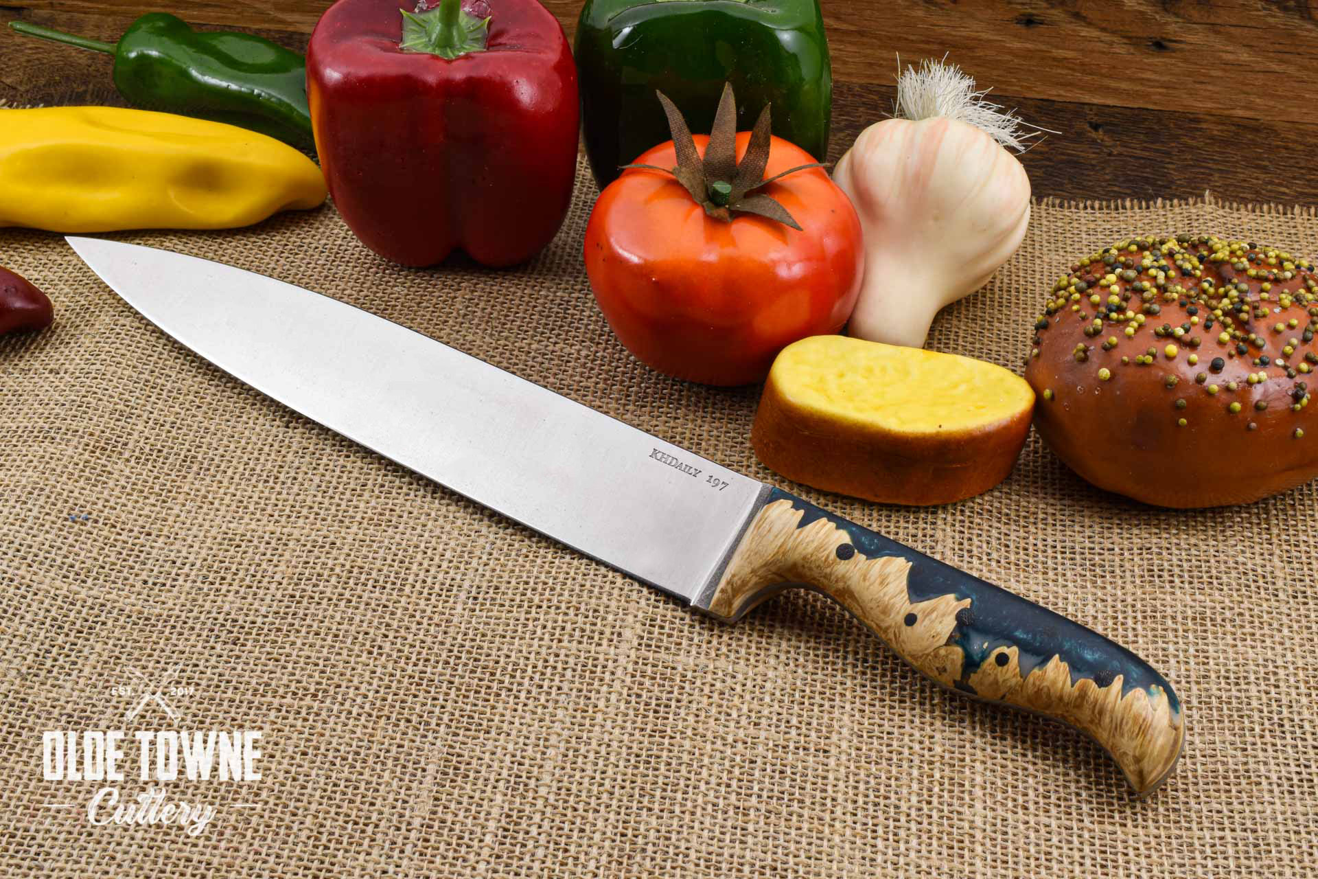 "KH Daily 10"" Carving Knife #197 (C) J Hue Green Resin Wood"