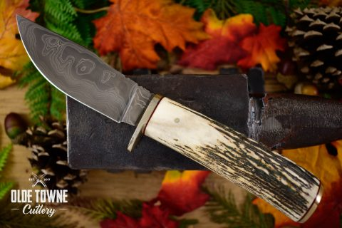 Pre-Owned Chuck Hawes Damascus Stag #58 (C)