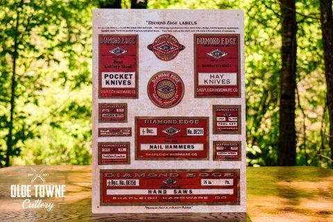 Diamond Edge Labels Vintage Tin Sign
