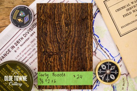 """Handle Material Curly Bocote 3/8"""" x 2"""" x 6"""