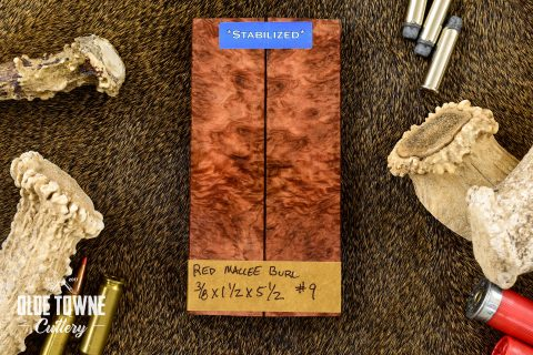 """Handle Material Red Mallee Burl 3/8"""" x 1 1/2"""" x 5 1/2 #9"""