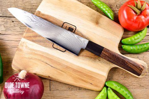 "Due South Knives Akagi Chef 8"" Tigerwood"