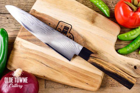 "Due South Knives Akagi Chef 8"" Black & White Ebony"