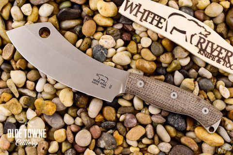 White River Knife & Tool WRCC55-BNA Camp Cleaver Natural Burlap
