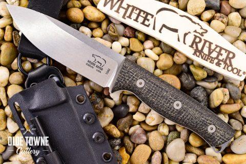 White River Knife & Tool WRUR45-BBL Ursus 45 Black Burlap Micarta