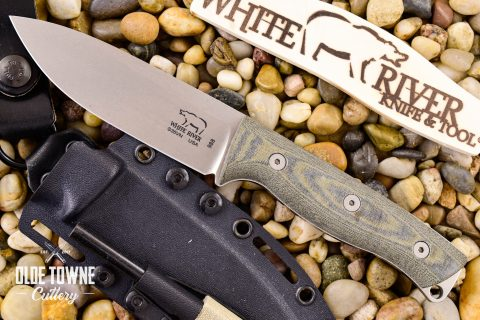 White River Knife & Tool WRUR45-LBO Ursus 45 Black and Olive Micarta